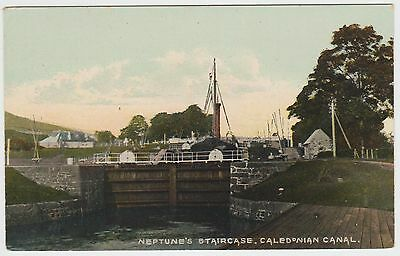 Neptune's Staircase, Caledonian Canal nr Fort William:~1910 Vintage PPC, Unused.