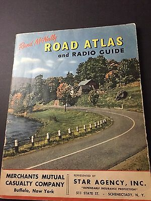 Vintage 1953 Rand McNally Road Atlas & Radio Guide Merchants Mutual Buffalo NY