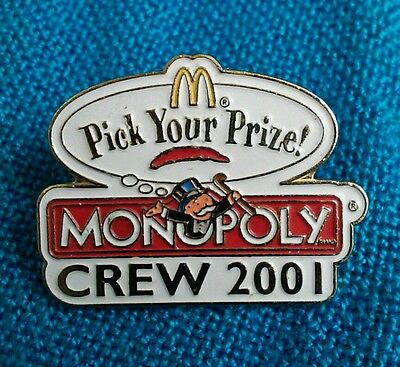 McDonald's Service Award HAT LAPEL PIN MONOPOLY PICK YOUR PRIZE CREW 2001