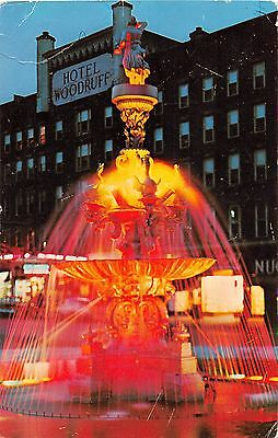 Vintage Postcard of Public Square Fountain Watertown New York 1960's