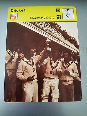 CRICKET - MIDDLESEX COUNTY CRICKET CLUB - Sportscaster Photo Fact Card