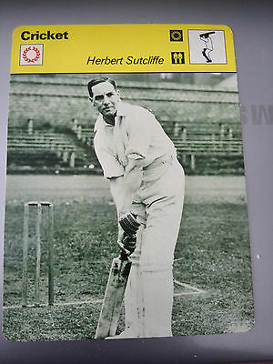CRICKET - HERBERT SUTCLIFFE / YORKSHIRE / ENGLAND - Sportscaster Photo Fact Card
