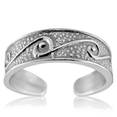 Wave Toe Ring Genuine Sterling Silver 925 Best Plain Jewelry Gift USA Seller