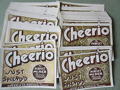100 Old Vintage Cheerio Soda Pop Bottle Labels Montreal Canada