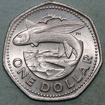 1973 Barbados One Dollar~Flying Fish~Combined S. & H.
