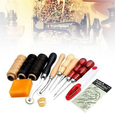 13Pcs Set Durable Leather Craft Hand Stitching Sewing Tool Waxed Thread Kit  BF