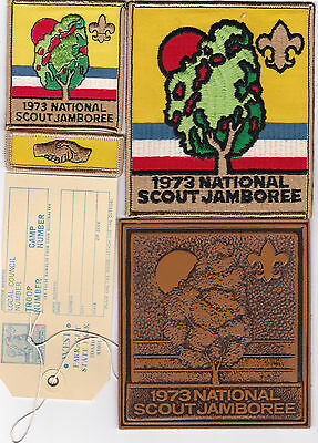 BSA 1973 National Jamboree Lot PP, JP, NC, Wide Game Strip, Luggage Tag, Leather