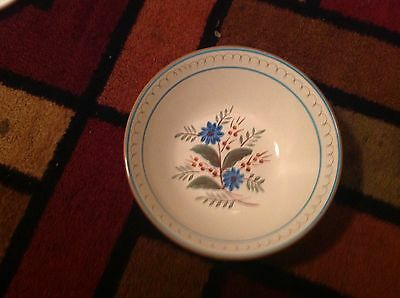 """Stangl Pottery Blue Daisy Hand Painted ~ 10 """"  Salad Bowl Estate Find"""
