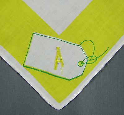 Vintage Bright Yellow Borders Monogrammed  ' A '  Sprigs of flowers Handkerchief