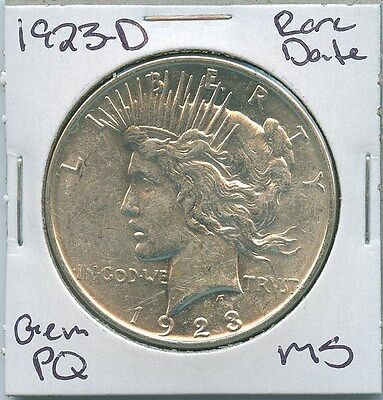 1923-D Peace Dollar Rare Date Uncirculated US Mint Coin PQ Gem Silver Coin MS