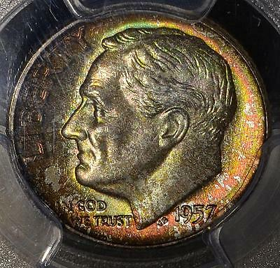 1957-D PCGS MS67 FB Roosevelt Dime Full Bands Colorful 90% Silver Coin Ship FREE