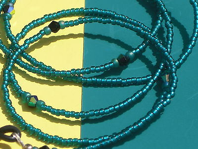 """Beaded Eyeglass Chain~Silver Lined Teal~Crystal Accents~28"""" Buy 3 SHIP FREE"""