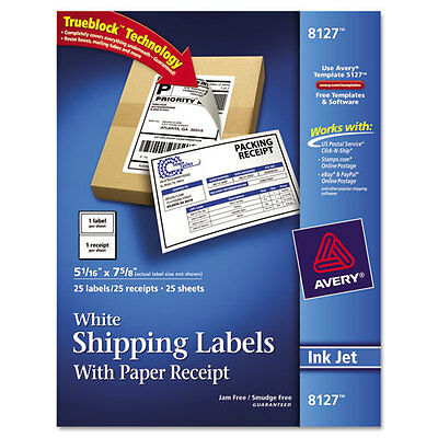 "Avery 8127 white shipping labels with paper receipts 25 sheets 5 1/16"" x 7 5/8"""