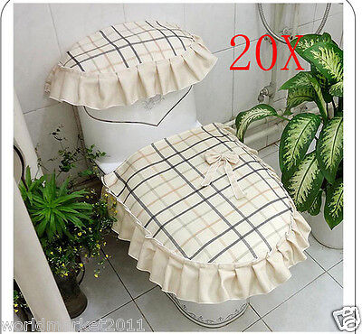 20X Lovely Practical Cream-Colored S 45*44 CM Fabric Three-Piece Toilet Covers