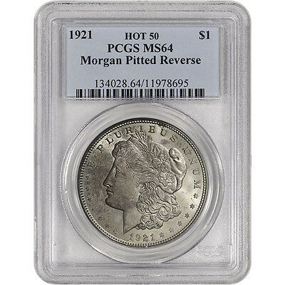 1921 US Morgan Silver Dollar $1 - PCGS MS64 - Pitted Reverse - Hot 50