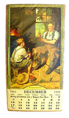 "Rare ""coca-Cola"" 1933 Frederic Stanley's ""the Village Blacksmith""  Calendar"