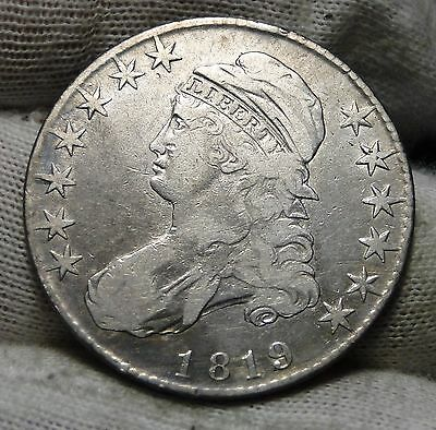 1819 Capped Bust Half Dollar 50 Cents - Nice Coin, Free Shipping (4657)