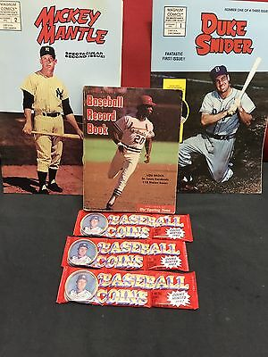 Baseball Items 3 Packs Topps  Coins + 2 Comics 1 Snider + 1 Mantle + Record Book