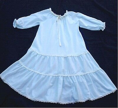 Vintage 2T Her Majesty Full Length Light Blue Nylon Nightgown