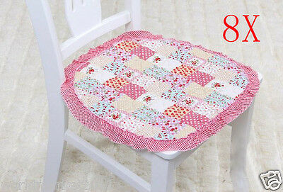 8X Pastoral Style Pink Strawberry 42 * 42 CM Cotton Practical Chair Mats Pads