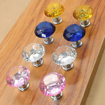 Diamond Cupboard Wardrob Door Knobs Clear Crystal Cabinet Draw Pull Handle UK