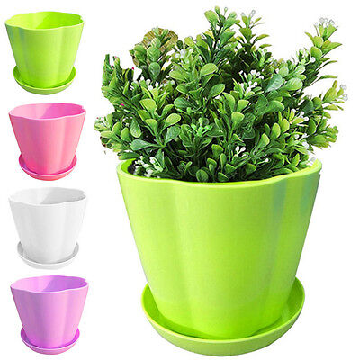 UK Plastic Flower Pot With Chassis Balcony Plant For Home Garden Office Decor