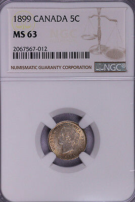 Ngc-Ms63 1899 Canada 5Cents Toned