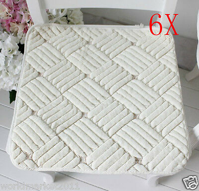 6X European Style Beige 45 * 45 CM Ultra-Soft Plush Practical Chair Pads