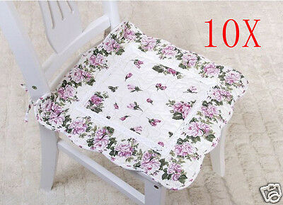 10X Pastoral Style Purple Flowery 45 * 45 CM Cotton Practical Chair Mats