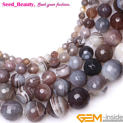 """Natural Faceted Round Botswana Agate Stone for Jewelry Making Beads Strand 15"""""""