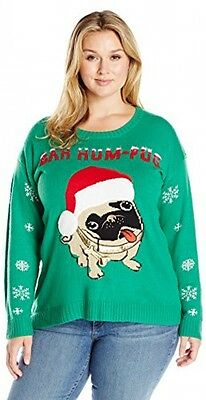 Blizzard Bay Women's Plus Size Bah Hum Pug Ugly Christmas Sweater With Fuzzy 3D