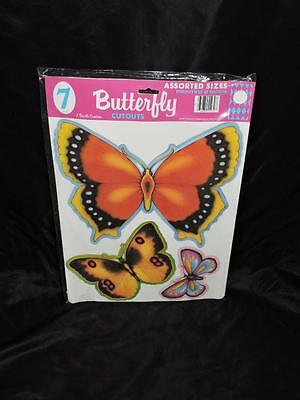 Vtg 80s New Beistle Butterfly Paper Cutouts 7 Butterflies Printed 2 Sides Spring