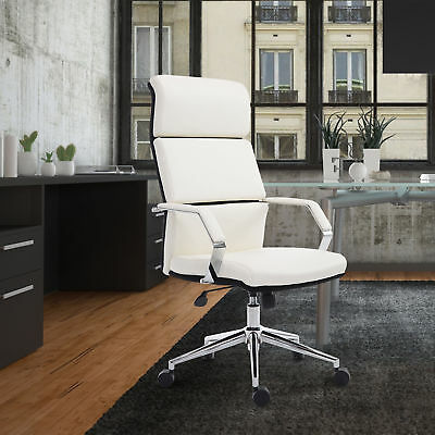 HOMCOM High-Back Faux Leather Executive Office Chair Adjustable Height Seat WT