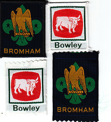 Boy Scout Badges BOWLEY + BROMHAM CAMP SITEs ribbon+bound