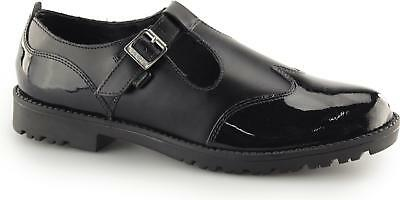 085ddfd5 Kickers LACHLY T Ladies Womens Teen T-Bar Leather/Patent School Shoes Black