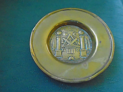 Rare Vintage Brass Masonic Decorated Collection Plate