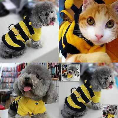 Yellow Bee Pet Clothes Puppy Dog Cat Clothes Coat Sweater Jacket Apparel