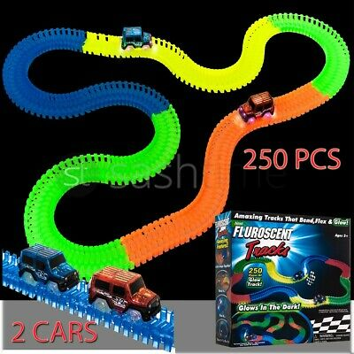 Magic 250 Tracks Glow In The Dark Led Light Up Race Car Bend Flex Track W 2 Cars