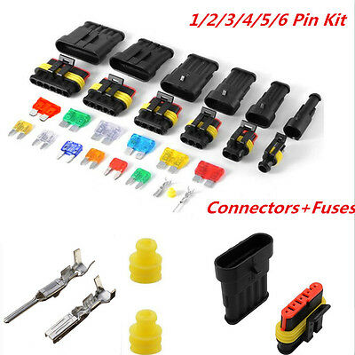 Car Waterproof Electrical Connector Terminal 1/2/3/4/5/6Pin Way Wire Blade Fuses