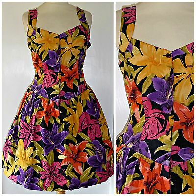 Vintage 80S Full Cotton Tropical Flowers Dress Uk 14 50S Rockabilly