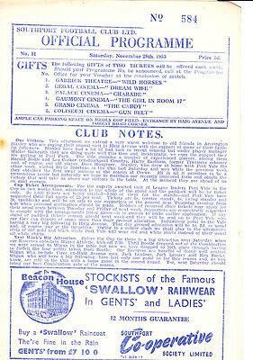 Southport v Accrington Stanley, 28/11/1953 Division Three North
