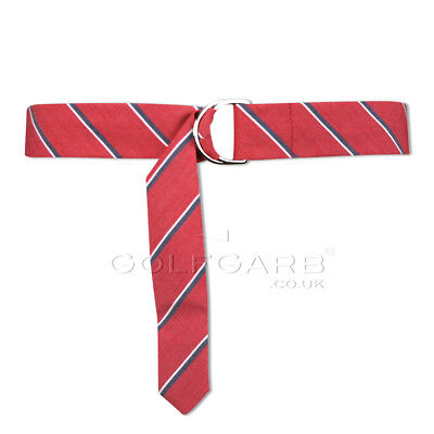 Green Lamb Stripy Fabric Belt with D Ring in Red Stripe