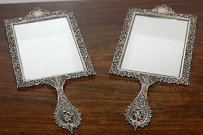 Antique silver hand mirrors