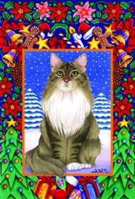 Large Indoor/Outdoor Christmas Flag - Grey & White Maine Coon Cat (TP) 66002