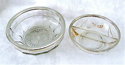 2 x Vintage Glass Bowls with Silver Plated Rims