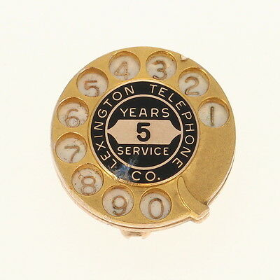 Lexington Telephone Co 5 Years Service Pin 10k Gold Rotary Dial Vintage Company