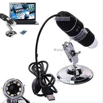 2MP 1000X 8 LED USB Digital Microscope Endoscope Zoom Camera Magnifier& Stand T#