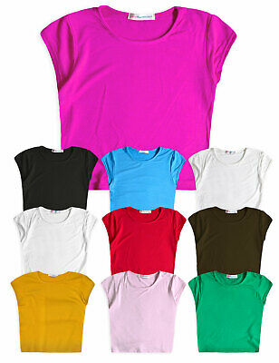 Girls Crop Top New Kids Short Sleeved Stretch Plain T-Shirt Ages 5 - 13 Years