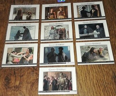 Game of Thrones Season 6: Complete 10 Card 'Relationships' Chase Set DL31-DL40.