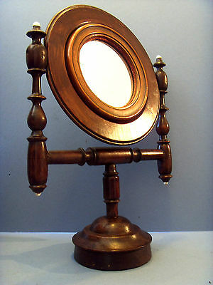 Victorian Antique Treen Mahogany Turned Gentleman's Shaving Mirror.